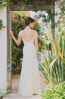 V-Neck Cap Low-V Back Chiffon Wedding Dress With Sash And Crystal Detailing