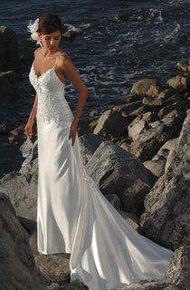 Sheath Column Spaghetti Straps Satin Wedding Dress