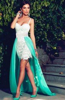 Glamorous Spaghetti Straps Sleeveless 2016 Prom Dress Chiffon Lace Hi-Lo Party Gowns