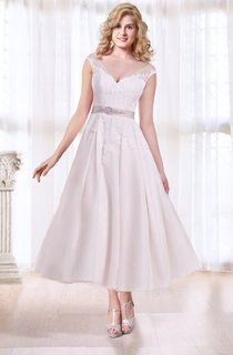 Cap Sleeve Tea Length Wedding Dress with Illusion Back