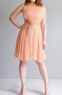 Vintage 1960S Chiffon Peach Dress