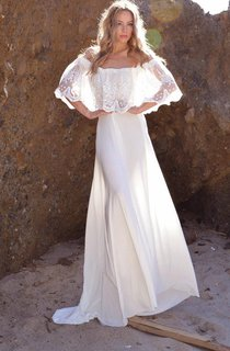 Off-The-Shoulder Lace Jersey Dress With Embroideries Ruffles