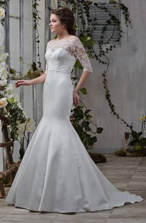 Off-The-Shoulder Lace Half Sleeve Mermaid Wedding Dress With Corset Back