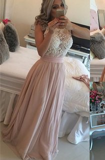 Glamorous Scoop Sleeveless Pearls Evening Dress Long Chiffon