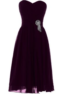 Sweetheart Short Chiffon Dress With Pleats and Beadings