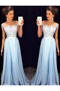 A-Line Princess Sleeveless Sheer Neck Applique Chiffon Sweep Brush Train Dresses