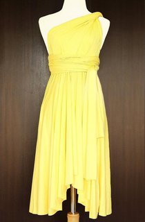 Yellow Bridesmaid Convertible Twist Wrap Dress