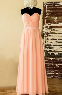 Strapped Sweetheart Chiffon&Lace&Satin Dress With Corset Back