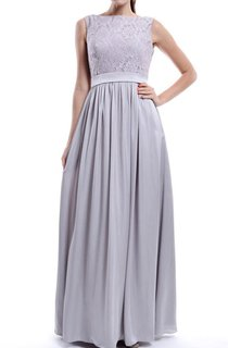 Floor-length Strapped Lace Top Grey Dress