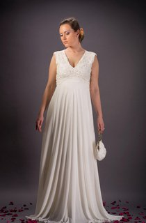 Vintage Lace Wedding Ivory Chiffon Wedding Bridal Dress