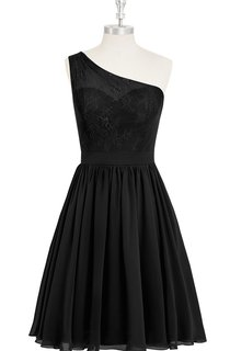 One-Shoulder Short A-Line Chiffon Dress With Lace Bodice