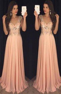 Newest Chiffon A-line V-neck Prom Dress 2016 Crystals Cap Sleeve