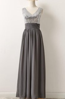 V-neck Chiffon Dress With Sequins