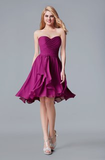 Sweetheart A-line Chiffon Short Dress With Sash