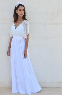 Bohemian V Neck Cleavage Lace Sleeves Wedding Dress