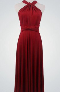Ruched Halter Sleeveless Gown With Straps and Sash