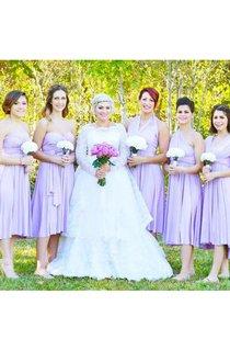 Short Lilac Bridesmaid Convertible Wrap Dress