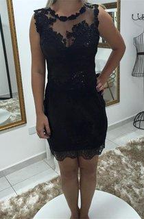 Delicate Lace Appliques Sequins Cocktail Dress 2016 Short Bodycon Black
