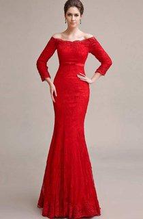 Long Sleeve Off The Shoulder Mermaid Long Lace Dress