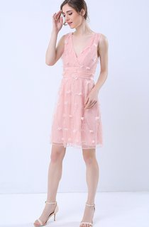 Surplice Neck Sleeveless Short Dress