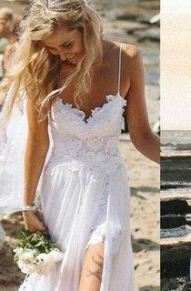 Elegant Spaghetti Straps Lace Appliqeus Beach Dress Long Chiffon