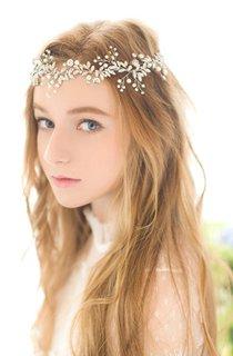 Korean Silver Rhinestone Flower Headdress With Pearl Headband