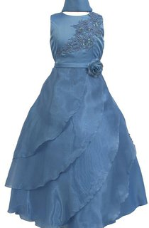 High-neck Tiered A-line Dress With Appliques