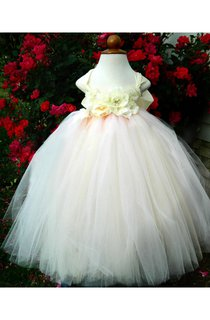 Deluxe Floral Sleeveless Flower Girl Dress in Blush and Ivory With Bow Sash