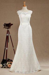 Scoop Neck Cap Sleeve Lace Mermaid Wedding Dress With Satin Sash