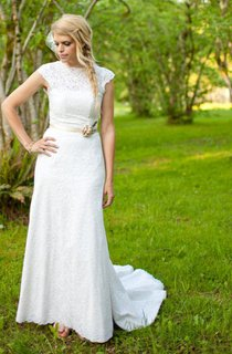 Long High Illusion Neck Lace Wedding Gown With Beaded Waist