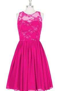 High Neck Lace and Chiffon Bridesmaid Dresses