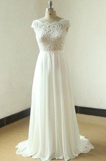 Ivory A Line Chiffon Sheer Lace Wedding With Scallop Back Dress