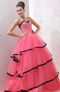 A-Line Sweetheart Sleeveless Ball Gown With Black Hem And Beaded Bodice