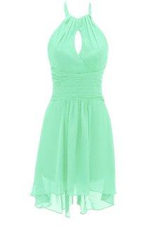 Asymmetrical Halter Notched Chiffon Short Dress