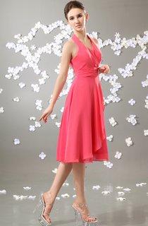 Lovely V-Neck Midi Chiffon Dress With Draping