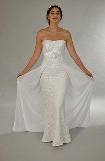 Strapless Long Sheath Lace Wedding Dress With Detachable Chiffon Skirt