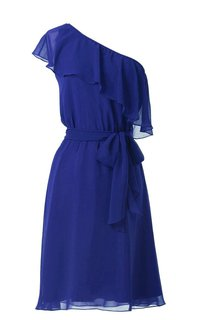 One-shoulder Drapped Neck Knee-length Chiffon Dress