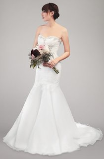Sweetheart Mermaid Lace and Organza Wedding Dress With Beading