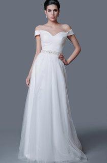 Elegant Off-the-shoulder A-line Tulle Dress With Low-V Back