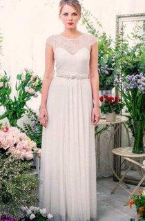 Scoop-Neck Cap-Sleeve Chiffon Pleated Wedding Dress With Keyhole