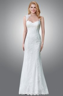 Floor Length Sheath Lace Wedding Dress With Queen Anne Neckline