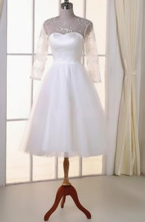 Tea-Length Tulle Lace Satin Weddig Dress