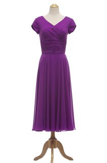 Petal Sleeve V-neck Tea-length Dress With Ruched Waist