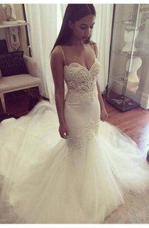 Delicate Tulle Lace Spaghetti Strap Wedding Dress 2016 Court Train