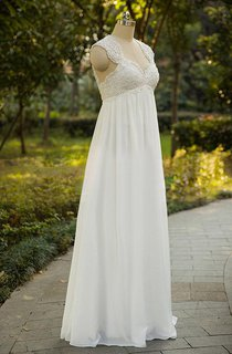 Cap Sleeve Chiffon Lace Weddig Dress