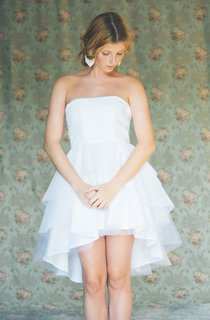 Cute Tiered Asymmetrical Wedding Dress Strapless