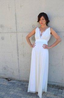 V-Neck Sleeveless Backless Sheath Chiffon Wedding Dress With Sash And Appliques
