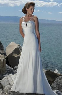 Sheath Column Empire Spaghetti Straps Chiffon Beach Wedding Dress