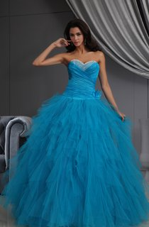 A-Line Ruffled Sweetheart Sleeveless Princess Ball Gown With Tulle Ruffles
