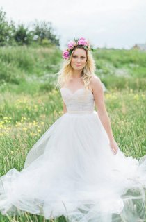 Lingerie Inspired Sweetheart A-Line Silk & Tulle Pale Blush Wedding Gown